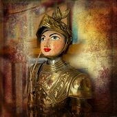 stock photo of paladin  - The Ancient Sicilian puppet on vintage texture - JPG