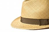 picture of panama hat  - Summer panama straw hat isolated on white background - JPG