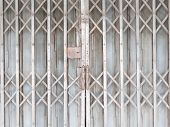 stock photo of roller door  - Old gray Horizontal Shutter Doors - JPG