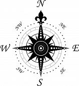stock photo of compass rose  - Vintage compass symbol isolated on white for design - JPG