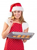 pic of homemaker  - Festive homemaker showing hot cookies on white background - JPG