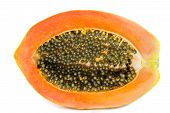 picture of pawpaw  - Half of fresh papaya fruit with seed isolated on white background - JPG