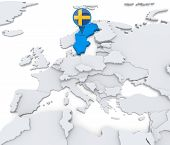foto of sweden flag  - Highlighted Sweden on map of Europe with national flag - JPG