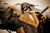 picture of bomber jacket  - Crazy WWII bomber pilot saluting with funny face - JPG