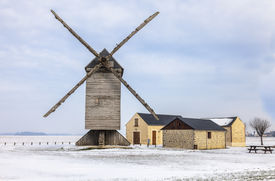 image of windmills  - Traditional wooden windmill in the Eure - JPG