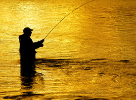 stock photo of rod  - Man fishing in river with fly rod and waders - JPG