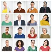 stock photo of human face  - People Diversity Faces Human Face Portrait Community Concept - JPG