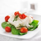 image of halibut  - halibut on spinach on white plate - JPG