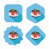stock photo of cream puff  - Cream Puffs Flat Icon With Long Shadow Design elements for mobile and web applications - JPG