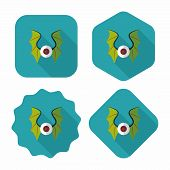 picture of bat wings  - Eye With Bat Wings Flat Icon With Long Shadow - JPG