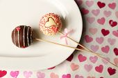 stock photo of cake pop  - Tasty cake pops on plate - JPG