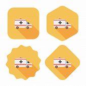 stock photo of ambulance car  - Ambulance Car Flat Icon With Long Shadow - JPG