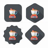 picture of juicer  - Kitchenware Electric Juicer Flat Icon With Long Shadow - JPG