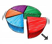 pic of three-dimensional  - Business chart sketch and hand drawn three dimensional diagram note of a pie symbol as a financial icon for investment market share on a white background - JPG