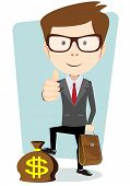 pic of sack dollar  - Businessman standing on a sack with dollars vector illustration - JPG