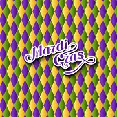 stock photo of tuesday  - vector illustration of Mardi Gras or Shrove Tuesday lettering label on checkered background - JPG