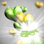 stock photo of brazilian carnival  - vector illustration of brazilian Carnival lettering label on the flying balloon hearts background with shiny explosion - JPG