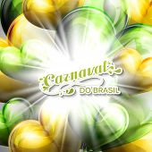 pic of brazilian carnival  - vector illustration of brazilian Carnival lettering label on the flying balloon hearts background with shiny explosion - JPG