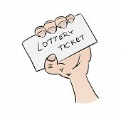 picture of raffle prize  - lottery ticket in hand on white background cartoon isolated - JPG