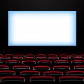 image of cinema auditorium  - Cinema auditorium with screen and seats - JPG