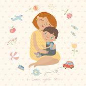stock photo of family love  - Mom and children - JPG