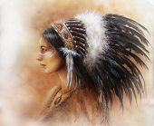 stock photo of headdress  - young indian woman wearing a big feather headdress a profile portrait on structured abstract background - JPG