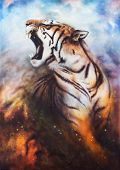picture of cute tiger  - a beautiful airbrush painting of a mighty roaring tiger emerging from an abstract cosmical background with starlights - JPG