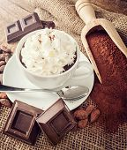 pic of cocoa beans  - Cup of hot chocolate with whipped cream cocoa powder cocoa beans and pieces of chocolate - JPG