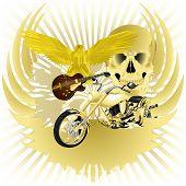 pic of chopper  - Rock n roll vector illustration background and golden chopper - JPG