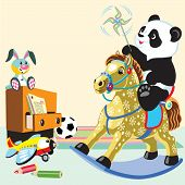 stock photo of panda  - cartoon panda bear riding a rocking horse toy in the playing room - JPG