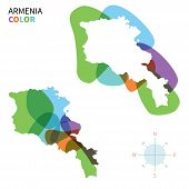 pic of armenia  - Abstract vector color map of Armenia with transparent paint effect - JPG