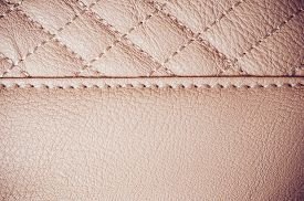 stock photo of stitches  - The texture of natural leather stitched leather product details - JPG