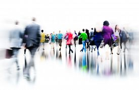 foto of commutator  - Business People Rush Hour Walking Commuting City Concept - JPG