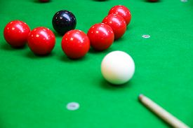 picture of snooker  - Snooker ball on snooker table - JPG