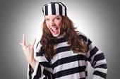 stock photo of prison uniform  - Convict criminal in striped uniform - JPG