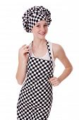 pic of pinafore  - Female chef isolated on white - JPG