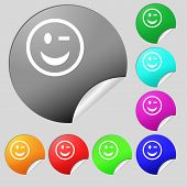 picture of eye-wink  - Winking Face icon sign - JPG