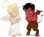 stock photo of angel devil  - babies an angel and a devil - JPG