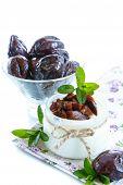 pic of prunes  - sweet milk yogurt with prunes in a glass jar - JPG