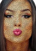 picture of leopard  - Portrait of a beautiful young woman with leopard pattern painting on a face - JPG