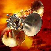 stock photo of trumpet  - abstract red musical background with piano drums and trumpet - JPG