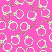 foto of handcuff  - Sketch steel handcuffs in vintage style vector seamless pattern - JPG