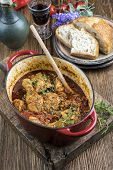 foto of stew  - Chicken stew in casserole  - JPG