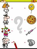 picture of brain-teaser  - Cartoon Illustration of Education Element Matching Game for Preschool Children with People Occupations - JPG