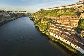 stock photo of dom  - View of Douro river from Dom Luiz bridge at Porto - JPG