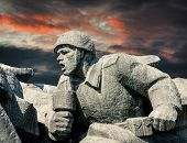 picture of ww2  - Soviet era WW2 memorial in Kiev Ukraine against dramatic sky background - JPG