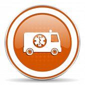 stock photo of ambulance  - ambulance orange icon  - JPG
