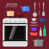 stock photo of kettling  - Set of kitchen appliances including stove - JPG