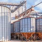 stock photo of biogas  - Storage facility cereals and production of biogas - JPG