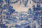 foto of ceramic tile  - Traditional hand made decorative tiles azulejos Lisbon Portugal - JPG